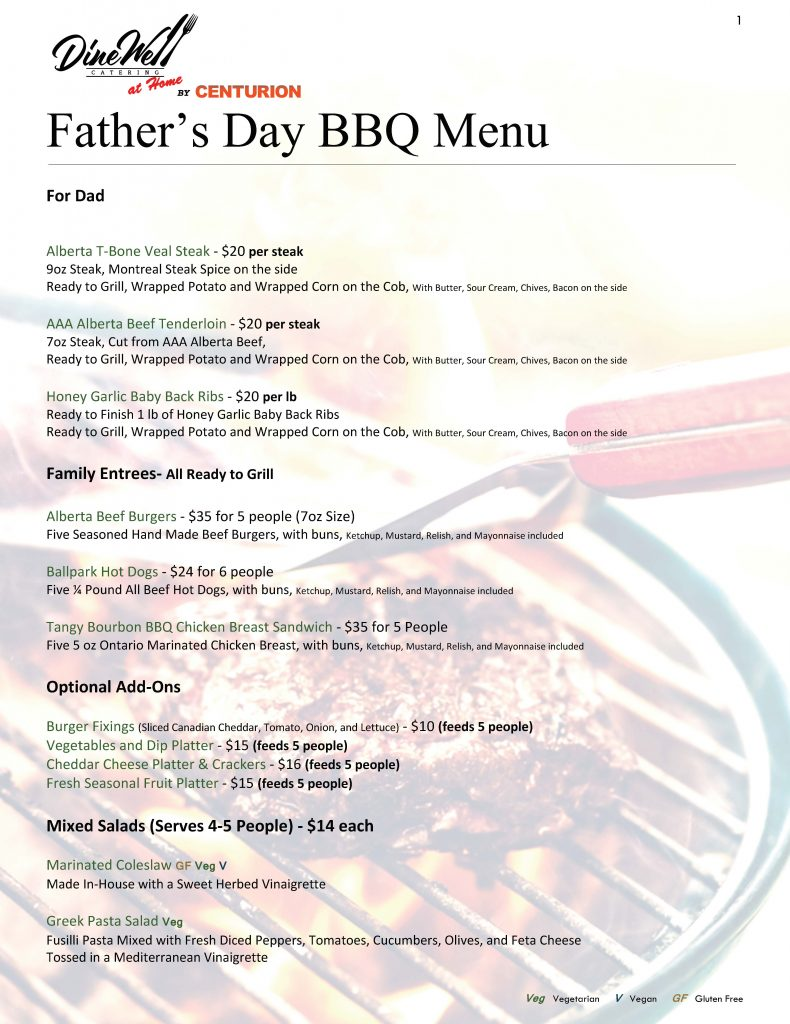 Father S Day Catering Special Menus Centurion Conference Event Center